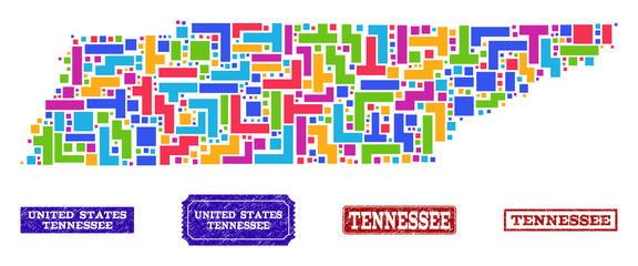 Mosaic tetris style map of Tennessee State and rubber rectangle seal stamps. Vector map of Tennessee State designed with colorful tetris blocks. Vector watermarks with grunge rubber texture.