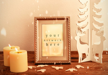 Frame and Holiday Decorations Mockup
