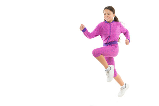 Girl cute kid with long ponytails sportive costume jump isolated on white. Working out with long hair. Sport for girls. Guidance on working out with long hair. Deal with long hair while exercising