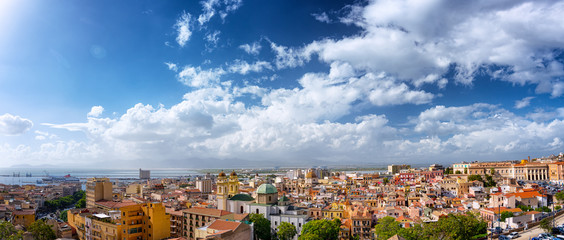 Panoramic view of Cagliari historical center with Saint Anne Church and old colorful houses
