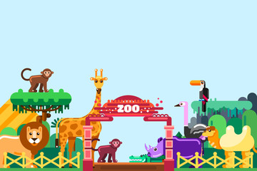 Zoo entrance, vector flat illustration. Cute animals around colorful gates. Weekend in park, leisure outdoor concept
