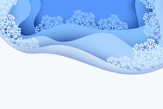 Paper art winter background with blue paper snowflakes. Merry Christmas and new year greeting card. Modern wavy 3d deep paper art style