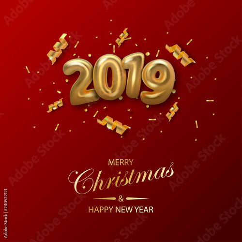 happy new 2019 year background golden metallic numbers 2019 and shining confetti particles and ribbons