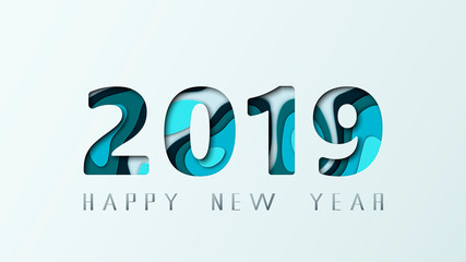2019 Happy New Year. Design layered greeting card for banners, posters, flyers. Vector illustration.