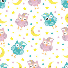 Good Night seamless pattern with cute sleeping owls, moon, stars and clouds. Sweet dreams background. Vector illustration