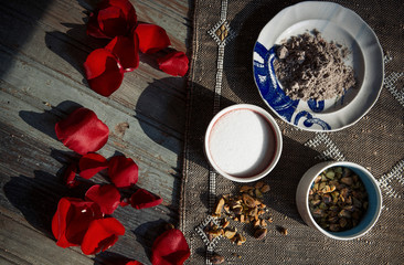 rose petals and spices