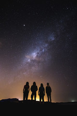 silhouette of people looking into the night sky