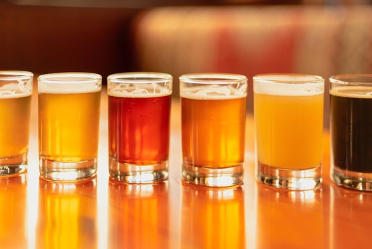 Full frame beer background - flight with variety of colors