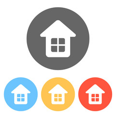 Simple house icon. Set of white icons on colored circles