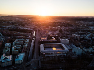 Aerial drone photo - Sunrise over the stadiums of Gothenburg, Sweden
