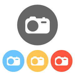 Simple photo camera. Technology icon. Set of white icons on colo