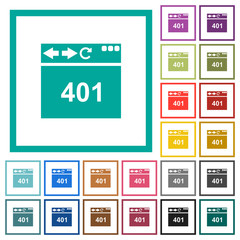 Browser 401 Unauthorized flat color icons with quadrant frames