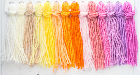 multicolored wool threads, palette for color selection