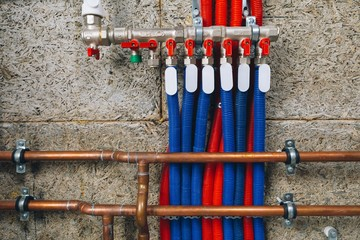 manifold collector with pipes in boiler room