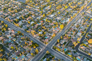 Aerial view of streets and homes near Lassen St and Winnetka Ave in the San Fernando Valley region of Los Angeles, California.