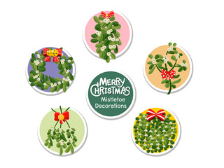 Set Christmas Mistletoe icon on color background. Merry Christmas and happy new year. Gift and decorative element on holiday. Vector cartoon Illustration.