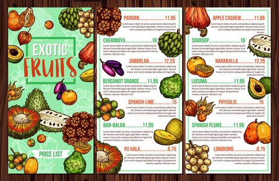 Tropical fruits and exotic berries menu