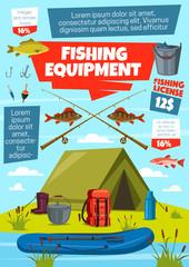 Fishing sport, fisherman tackle and equipment