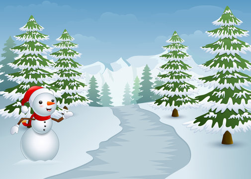 Snowman on the side of the road with snowy cypress trees