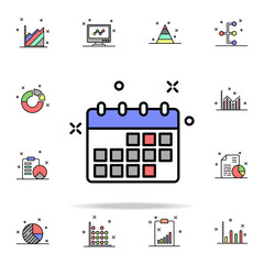 business calendar colored icon. Business charts icons universal set for web and mobile