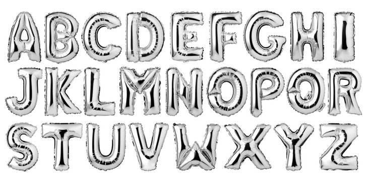 English alphabet from silver balloons isolated on white background