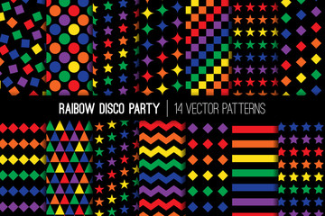 Rainbow Disco Party Vector Patterns. Vibrant Multicolor Glow in The Dark Backgrounds. Repeating Pattern Tile Swatches Included.