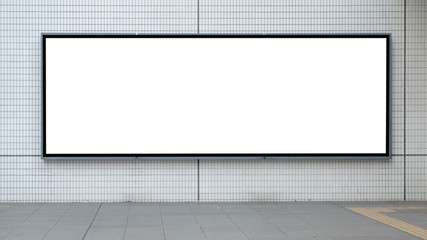 blank advertising billboard at airport,Mock up Poster media template Ads display in Subway station escalator Fotomurales