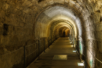 The Templar tunnel in the underground old town of Acco Israel.