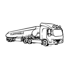 A tank truck is a special type of vehicle for transportation of liquid and gaseous commodities. Sketch style drawing isolated on a white background. EPS10 vector illustration