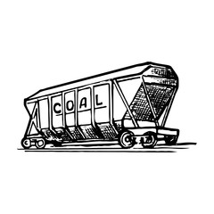 A covered wagon is a special type of railway rolling stock for transportation of a bulk commodities. Sketch style drawing isolated on a white background. EPS10 vector illustration