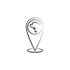 Cloud, lightning, pin icon. Element of weather icon for mobile concept and web apps. Hand drawn Cloud, lightning, pin icon can be used for web and mobile