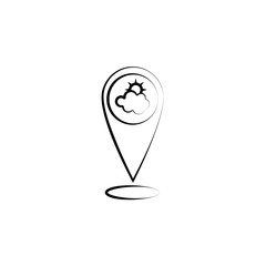 Sun, cloud, pin icon. Element of weather icon for mobile concept and web apps. Hand drawn Sun, cloud, pin icon can be used for web and mobile