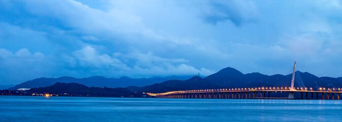 Nightscape of Shenzhen Bay Bridge