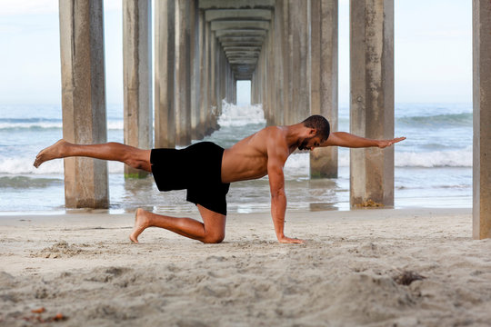 Male Yoga Instructor in Bird DogPose