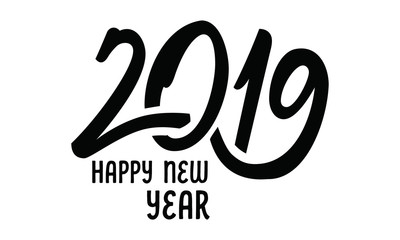 Happy New Year 2019. Typography logo design.