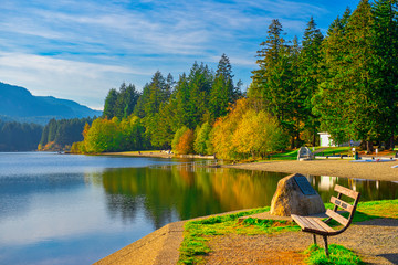 Westwood lake during the fall in Nanaimo, BC, Canada