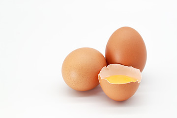 eggs on isolated and white background.