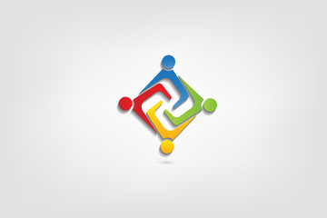Logo teamwork business people holding hands