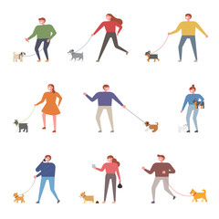 people walking with dog set. flat design style vector graphic illustration.