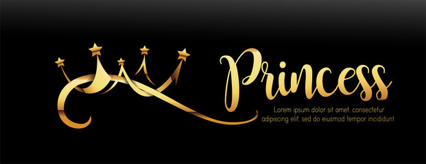 Vector Luxury Sign Gold Crown. Chic Gradient Font. Exclusive princess typo with golden crown on black banner style background.