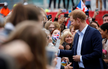 Britain's Prince Harry greets people at Viaduct Harbour in Auckland