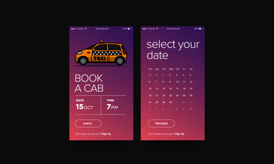 Book A Cab Taxi App UX UI Design for Smart Phones with Small Car Vector Illustration