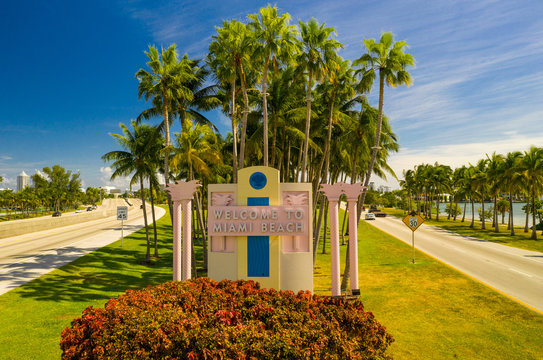 Aerial image Welcome to Miami Beach road sign