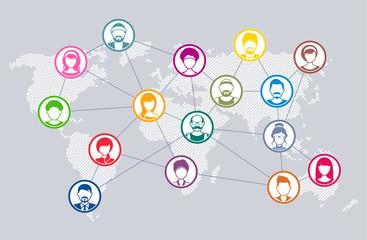 Vector social network diagram world map concept