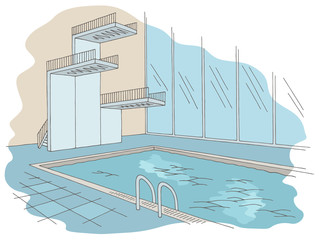 Swimming pool tower graphic color interior sketch illustration vector