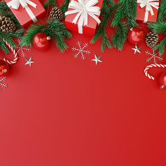 Christmas decorations with gift box on red background. 3d rendering