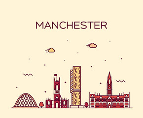 Fotomurales - Manchester skyline big city England vector linear