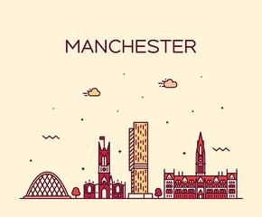 Fototapete - Manchester skyline big city England vector linear