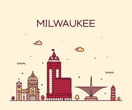 Milwaukee skyline Wisconsin USA vector linear city