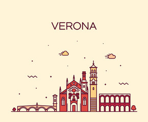 Wall Mural - Verona skyline Italy vector linear style city